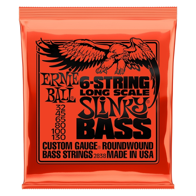 2-Pack Ernie Ball 2838 6-String Slinky Long Scale Electric Bass Strings (32-130)