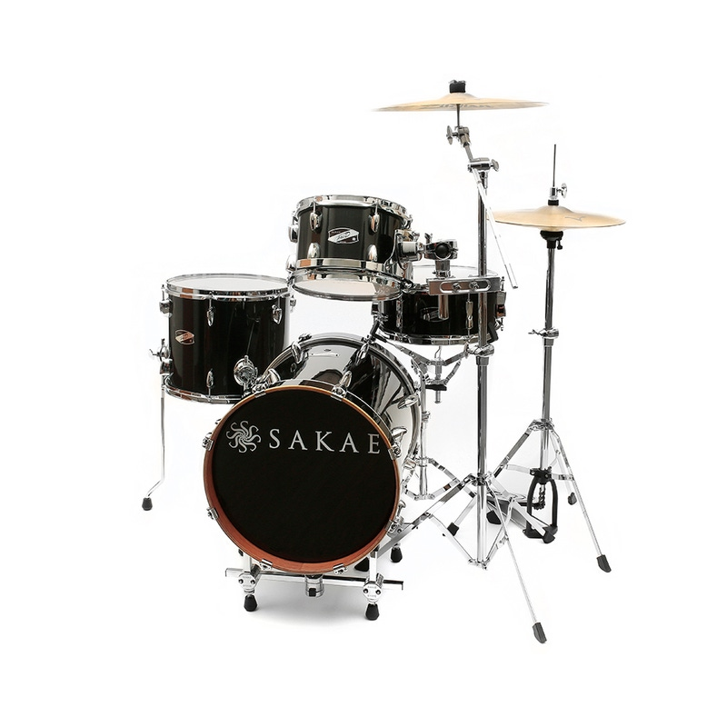 """Sakae PD-4 Complete Drum Kit with Hardware and Raiser - Gloss Black (16"""" Kick, 10/13"""" Toms, 5.5"""" x 12"""" Snare)"""
