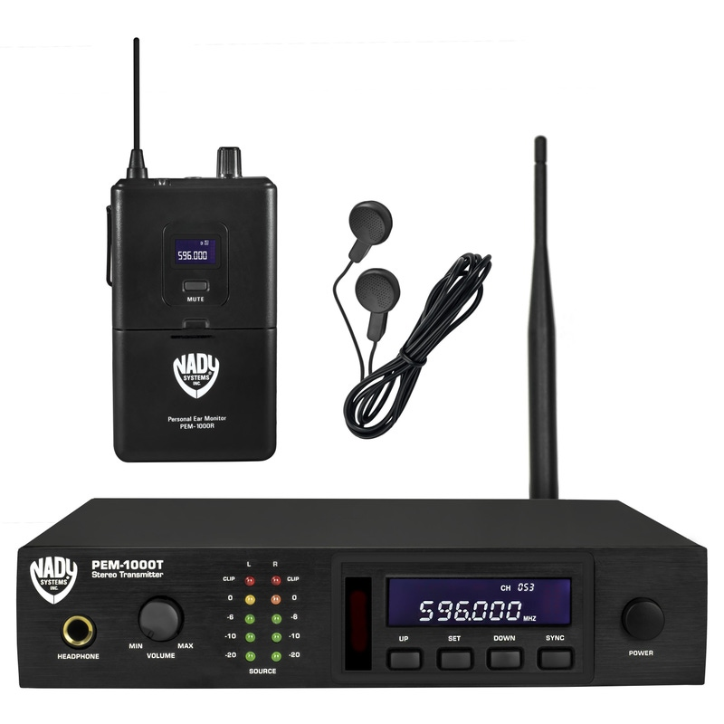 Nady PEM-1000 UHF 100-Channel Wireless Professional In-Ear Monitor System with Earbud Headphones; Band 2 (583-607.75 MHz)