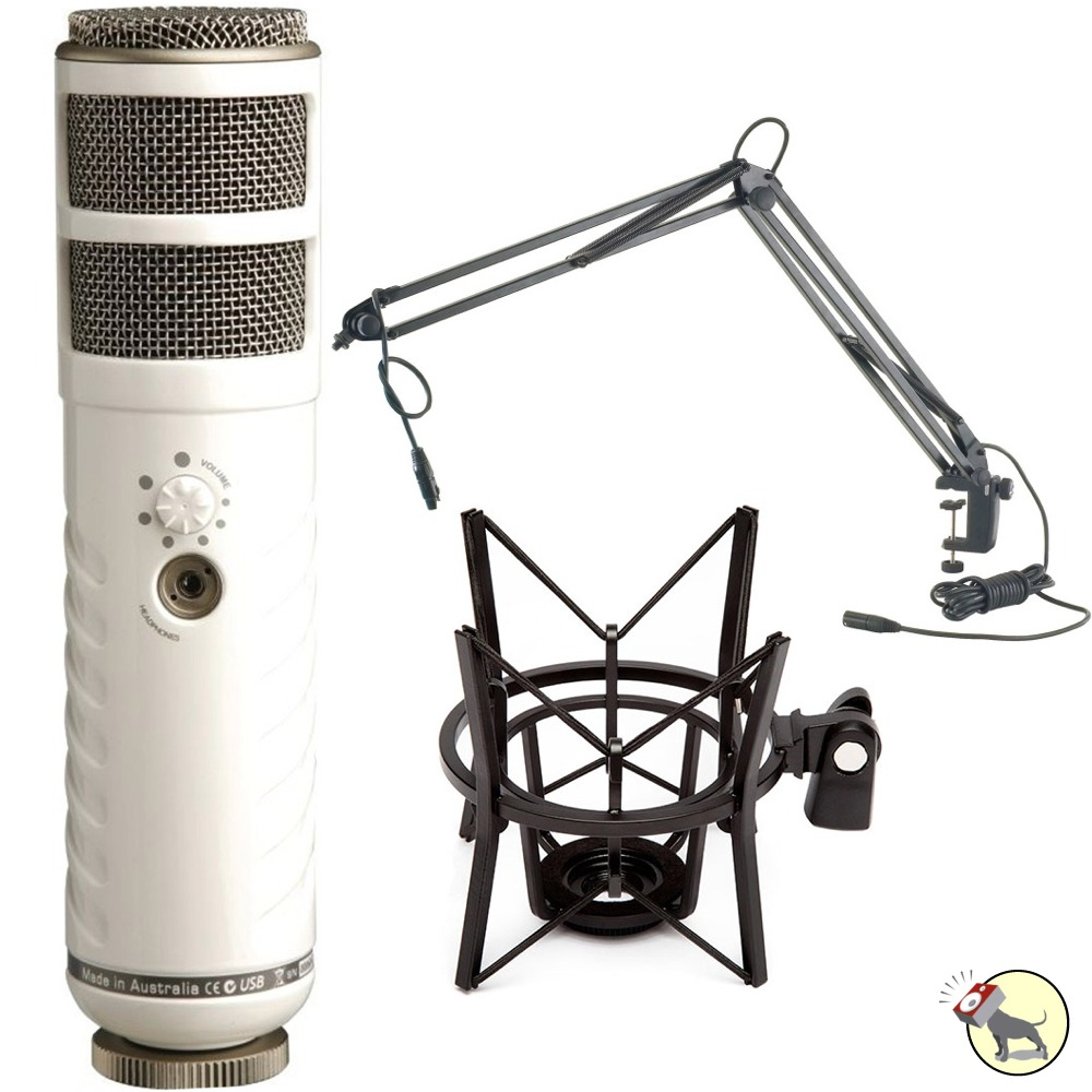 rode podcaster broadcast usb microphone with desktop mic stand and shock mount ebay. Black Bedroom Furniture Sets. Home Design Ideas