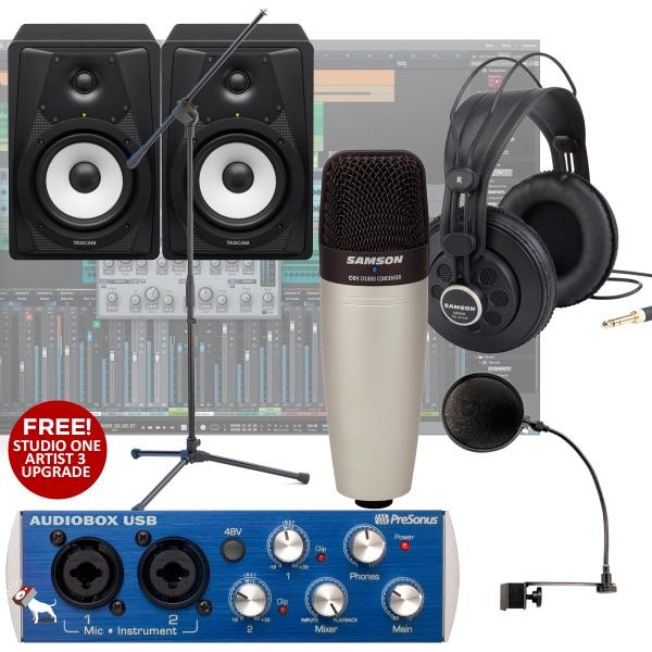 Presonus Audiobox + C01 Microphone + VLS5 Monitors + Complete Recording Bundle