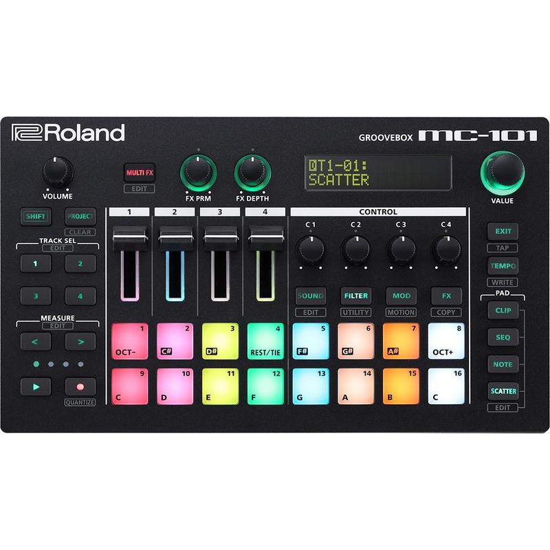 Roland MC-101 Groovebox Sequencer Sampler Production Platform, 16 RGB Pads, Effects