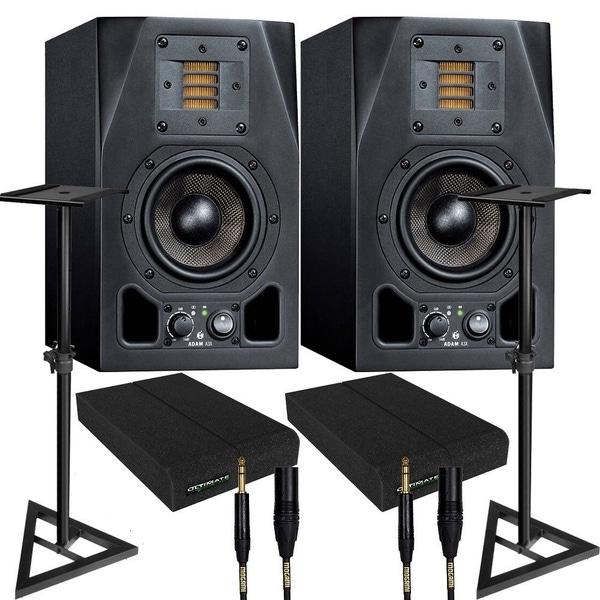 Adam A3X Active Studio Monitor Speaker Pair + Mogami Cables + Pads + Stands