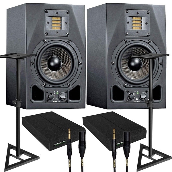 Adam A5X Nearfield Studio Monitor Speaker Pair + Mogami Cables + Pads + Stands