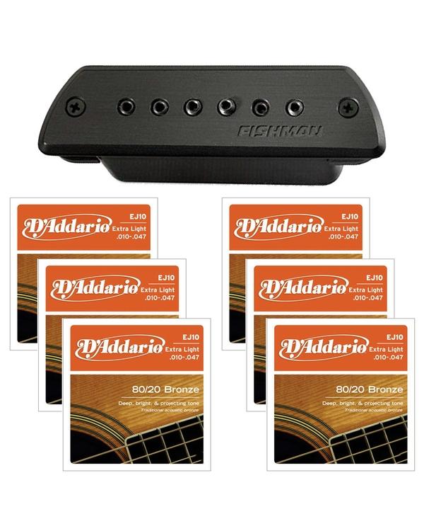 Fishman Blackstack Acoustic Soundhole Pickup & D'Addario EJ10 X/L Guitar Strings