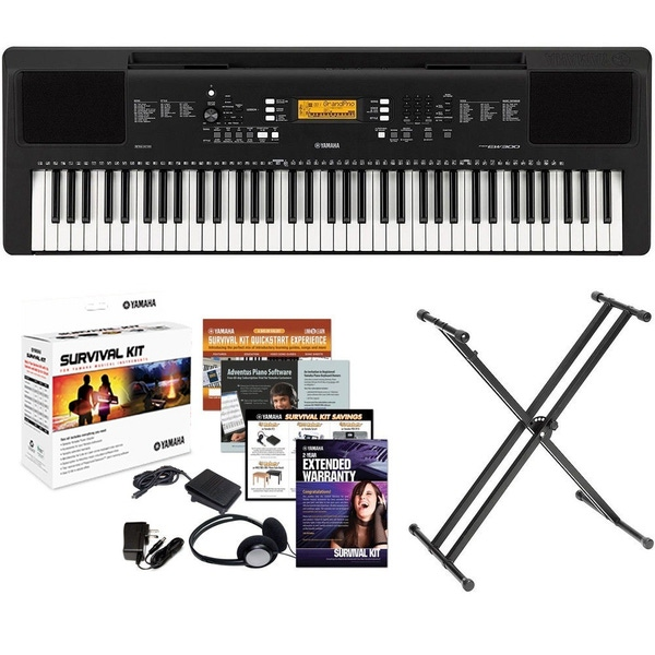 Yamaha PSR-EW300 Portable Keyboard Piano Survival Kit and Stand Package Bundle