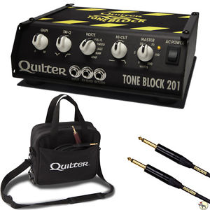 Quilter Tone Block 201 200-Watt Guitar Amplifier Head with Deluxe Case and 25 ft Mogami Instrument Cable