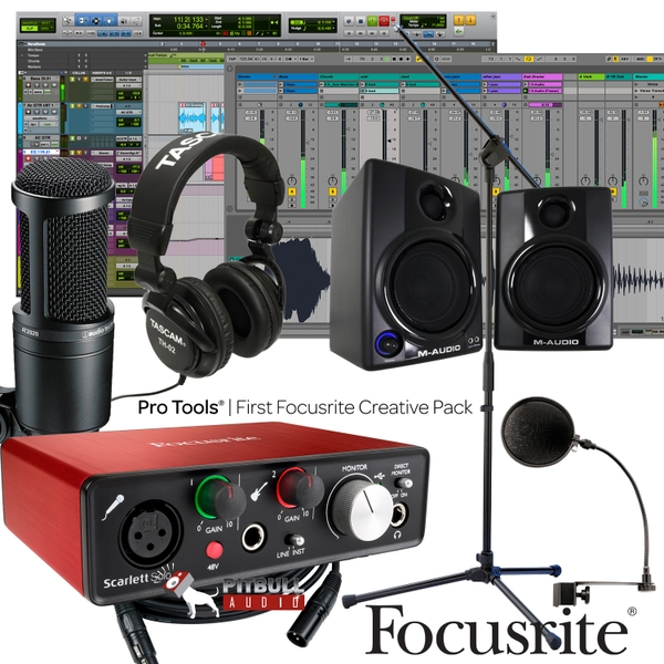 Focusrite Scarlett Solo (2nd Gen) Pro Tools First Home Recording Bundle with Audio Technica Mic, & M-Audio Monitors
