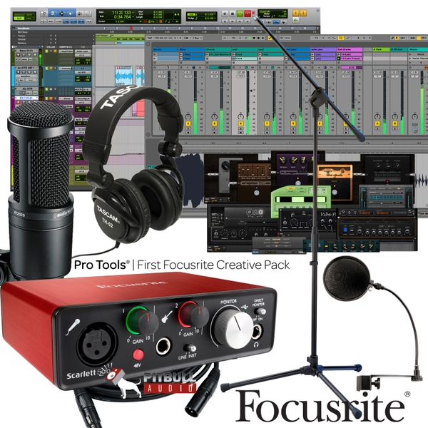 Focusrite Scarlett Solo (2nd Gen) Pro Tools First Home Recording Bundle with Audio Technica Mic, & Tascam Headphones