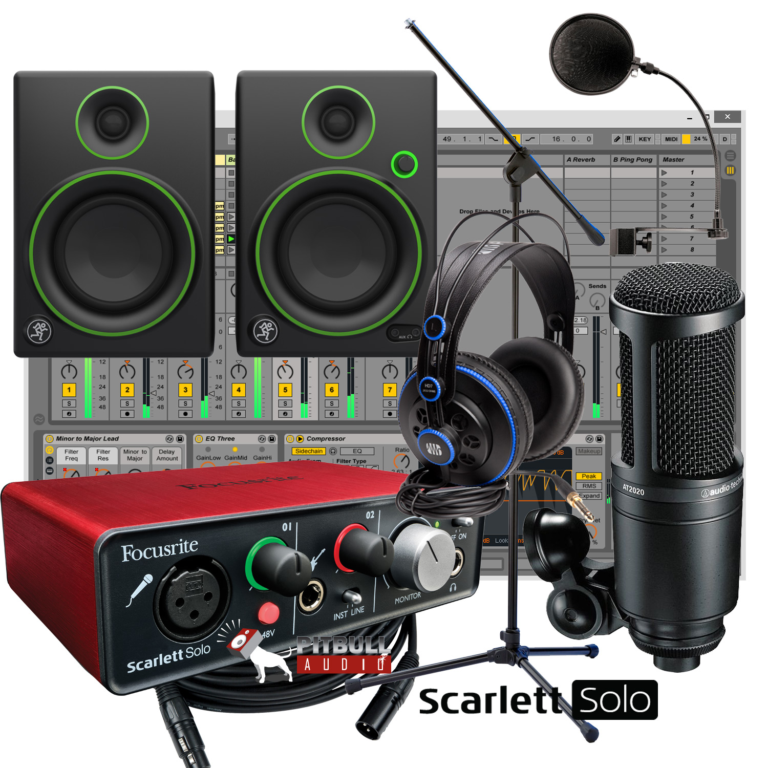 focusrite scarlett solo home recording studio bundle w mackie cr4 at 2020 mic ebay. Black Bedroom Furniture Sets. Home Design Ideas