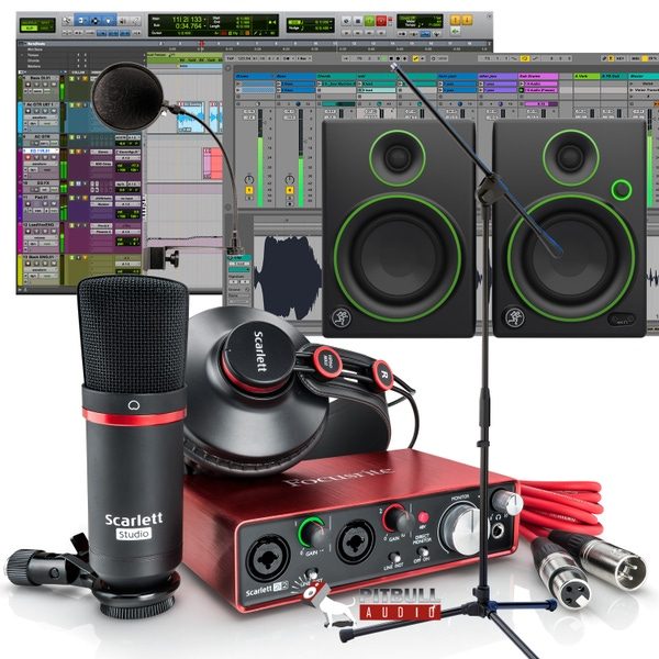 Focusrite Scarlett 2i2 Studio (2nd Gen) Recording Bundle with Pro Tools First, Mackie Monitors, Mic Stand, Pop Filter, and Cables