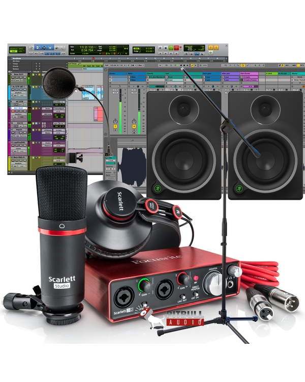 Focusrite Scarlett 2i2 Studio (2nd Gen) Recording Bundle with Pro Tools First, Mackie MR5 Monitors, Mic Stand, Pop Filter, and Cables