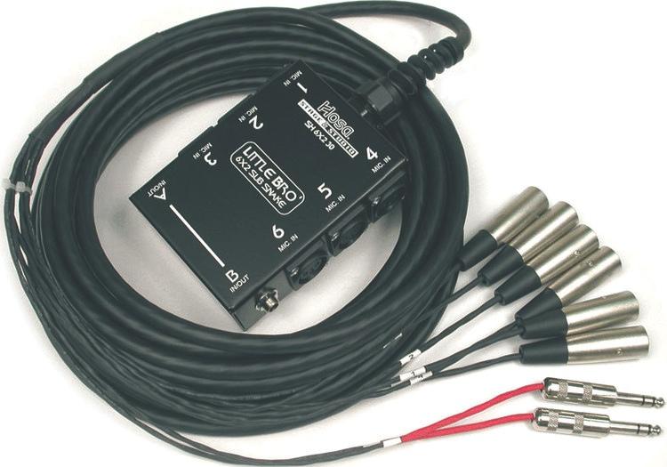 "Hosa Technology SH-6X2-50 Little Bro 50' Sub Snake Nonlocking 6-XLR 2-1/4"" TRS"