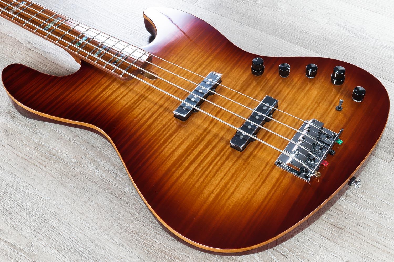 Sire V10 2nd Gen Bass Guitar 4 String Roasted Flame Maple Fingerboard Ts Tobacco Sunburst W Gig Bag