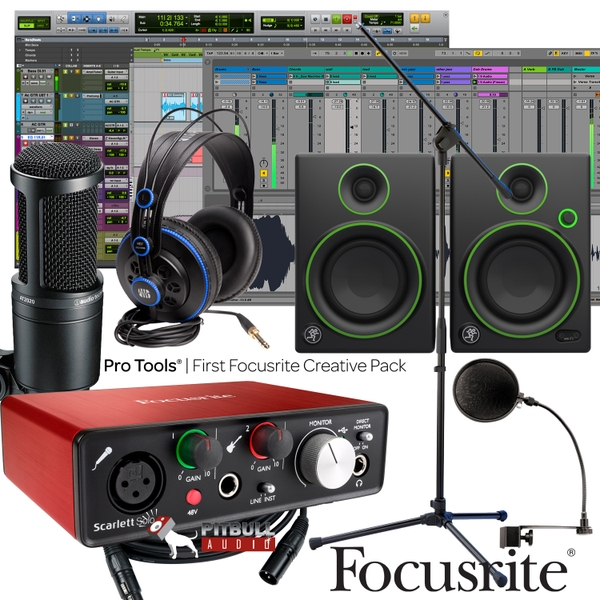 Focusrite Scarlett Solo (2nd Gen) Pro Tools First Home Recording Bundle with Mackie Monitors, Audio Technica Mic, & PreSonus Headphones