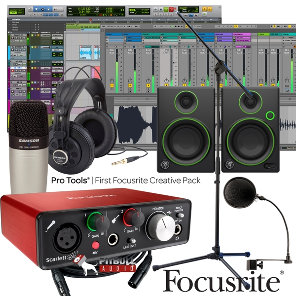 Focusrite Scarlett Solo (2nd Gen) Pro Tools First Home Recording Bundle with Mackie CR3 Monitors, Samson Mic, Headphones, & Cables