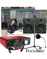 Focusrite Scarlett Solo (2nd Gen) Pro Tools First Home Recording Bundle with Mackie CR4 Monitors, Samson Mic, Headphones, & Cables