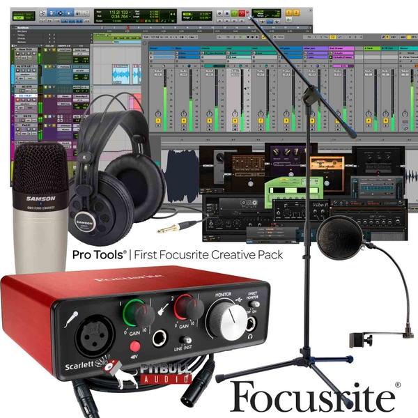 Focusrite Scarlett Solo (2nd Gen) Pro Tools First Home Recording Bundle with Samson Mic, Headphones, Stand, Cable, & Pop Filter