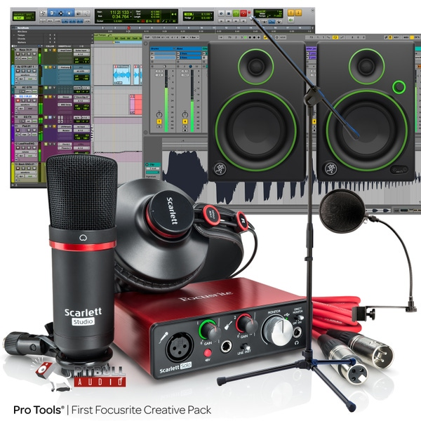 Focusrite Scarlett Solo Studio (2nd Gen) Pro Tools First Recording Bundle with Mackie CR4 Monitors