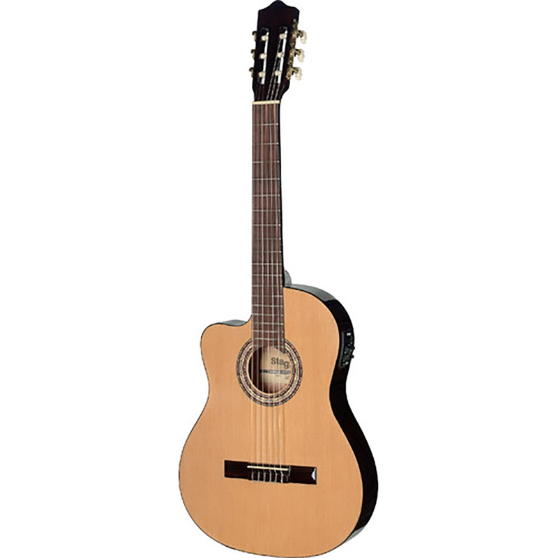 Stagg C546TCE-LH N Acoustic-Electric Classical Guitar with Cutaway and 4-Band EQ