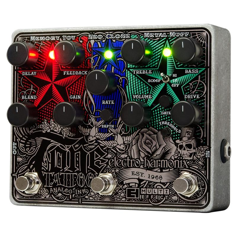 Electro-Harmonix Tone Tattoo Analog Distortion Chorus Delay Multi-Effects Guitar Pedal