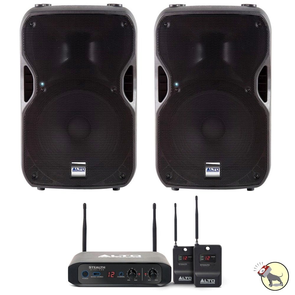 2 alto ts112a 12 active powered pa dj speakers pair w stealth wireless system ebay. Black Bedroom Furniture Sets. Home Design Ideas