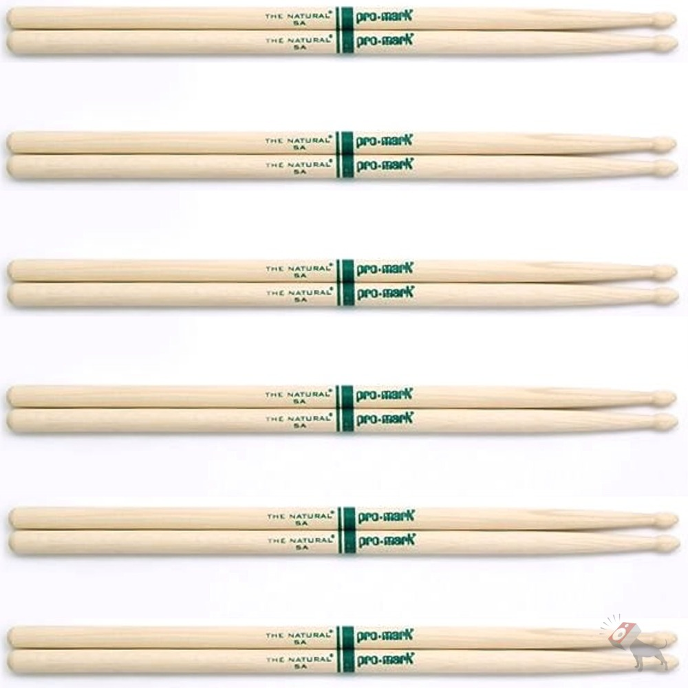 6 pairs promark txr5aw hickory 5a the natural wood tip drumsticks 6 pack ebay. Black Bedroom Furniture Sets. Home Design Ideas