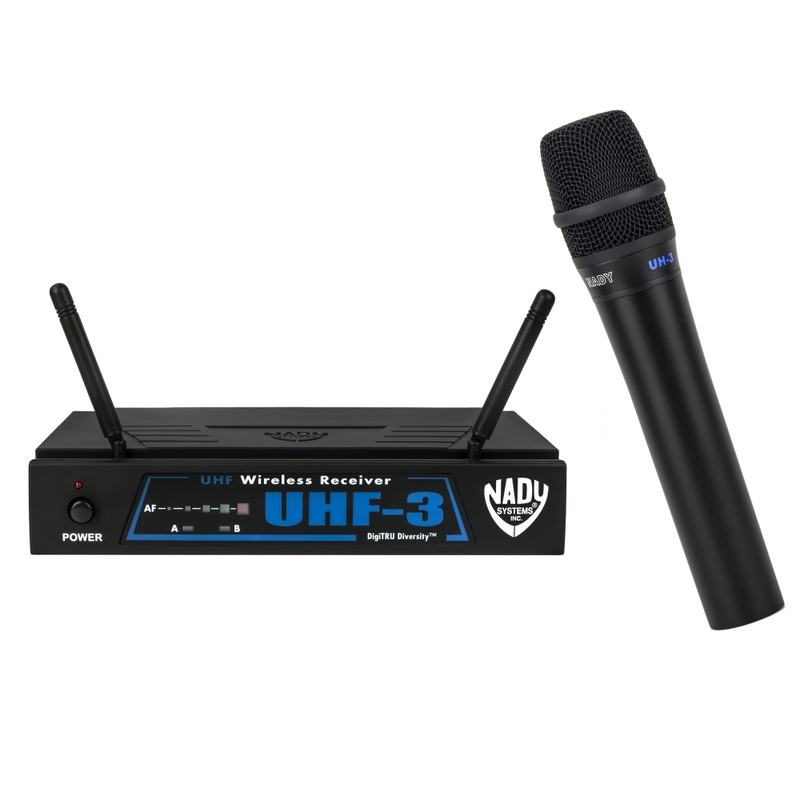 Nady UHF-3 Wireless Handheld Microphone System with True Diversity; 470.5 MHz