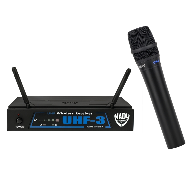 Nady UHF-3 Wireless Handheld Microphone System with True Diversity; 495.55 MHz