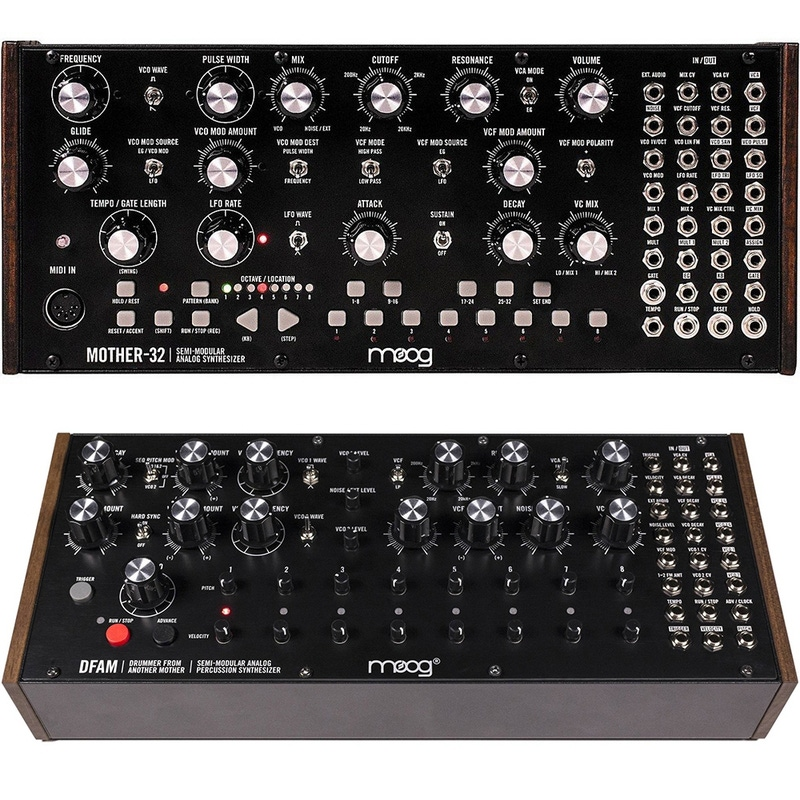 Moog Mother 32 Analog Synthesizer and DFAM Percussion Synthesizer Bundle