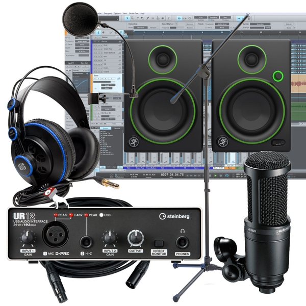 Steinberg UR12 Interface + AT-2020 Mic + Mackie CR4 Monitors Recording Studio