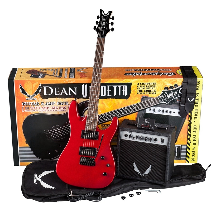 Dean Guitars Vendetta XM Tremolo Pack with Amp, Electronic Tuner, Strap, Cable, Picks, and Gig Bag (Metallic Red)