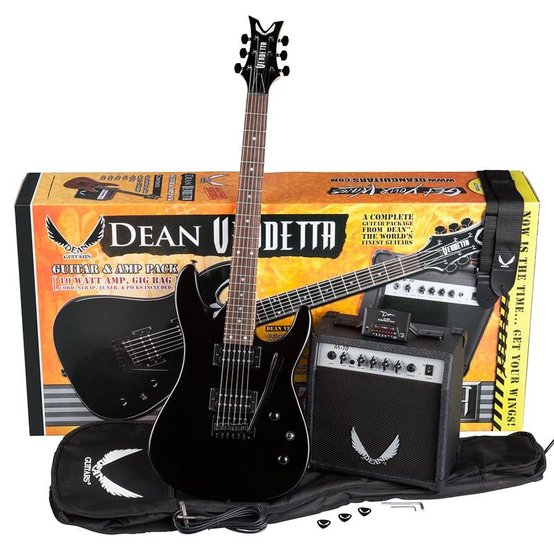 Dean Guitars Vendetta XM Tremolo Pack in Metallic Black with Amplifier, Gig Bag, Cord, Picks, Strap, & Tuner