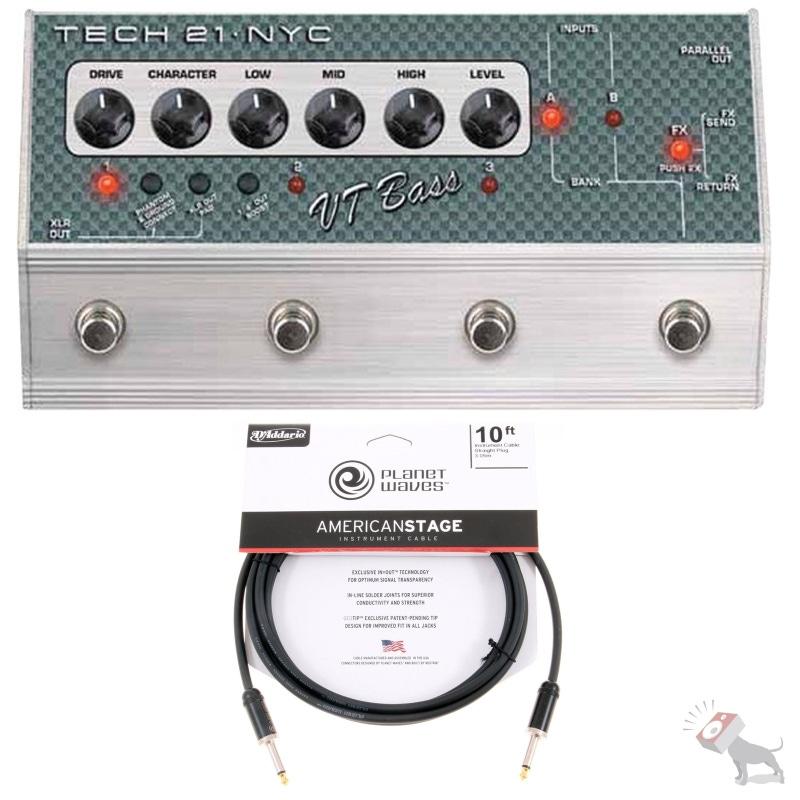 Tech 21 SansAmp VT Bass Deluxe Distortion Guitar Effects Pedal & 10ft Cable