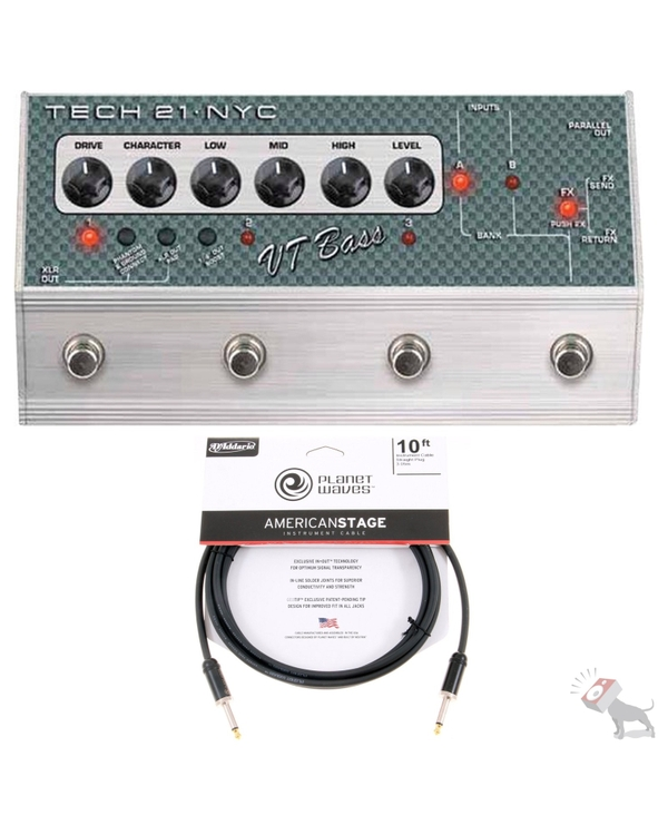 Tech 21 SansAmp VT Bass Deluxe Distortion Guitar Effects Pedal & 10ft Cable