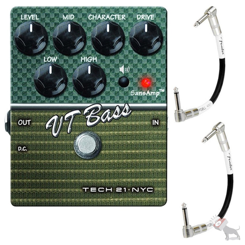 Tech 21 SansAmp VT Bass V2 Distortion Effects Pedal & FREE Fender Patch Cables