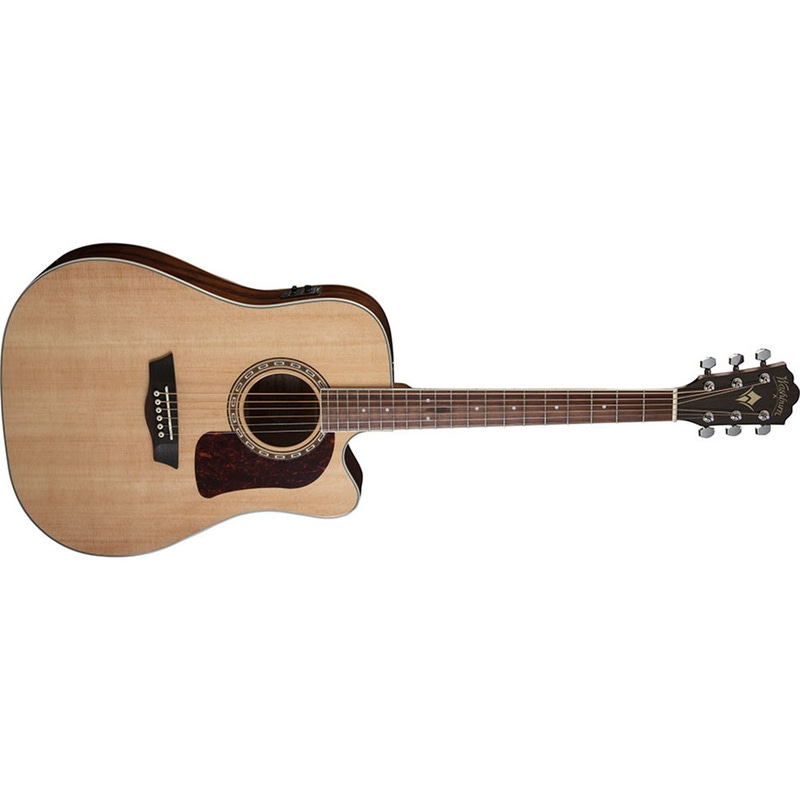 Washburn HD10SCE Heritage 10 Series Dreadnought Cutaway Acoustic-Electric Guitar - Nautral