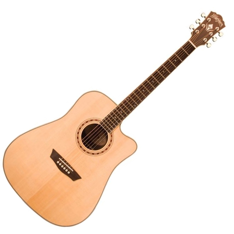 Washburn WD20SCE Woodline Series Dreadnought Cutaway Acoustic-Electric Guitar Natural