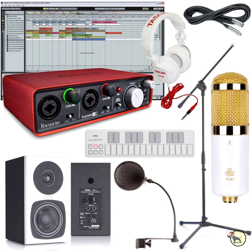 special edition home recording studio bundle mic monitors headphones keyboard ebay. Black Bedroom Furniture Sets. Home Design Ideas