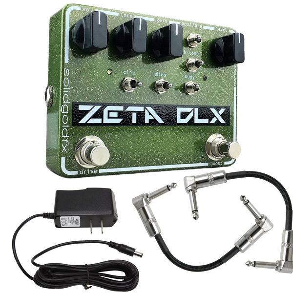SolidGoldFX Zeta Deluxe Overdrive Guitar Effects Pedal with Power Supply and Patch Cables